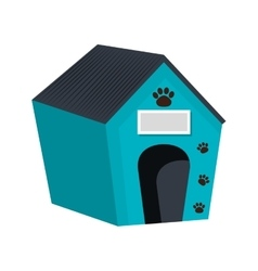 Dog house wooden isolated icon vector