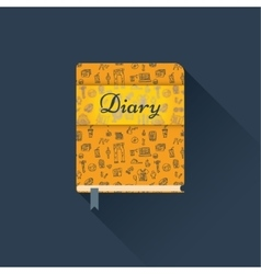Flat diary with a pattern vector image vector image