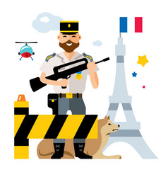 france police ensuring security in the vector image vector image