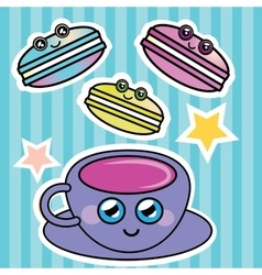 French macaroon and a cup of coffee vector