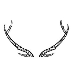 hand drawn reindeer antlers vector image