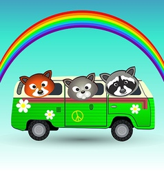Hippie van with animals vector