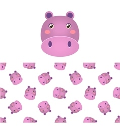 Hippo head icon and pattern vector