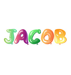 jacob written with alphabet balloons vector image vector image