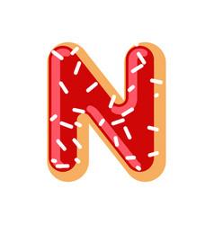 letter n donut font doughnut alphabet sweet vector image vector image