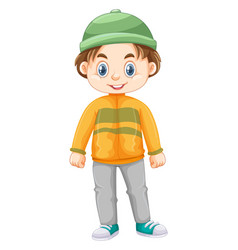 Little boy in winter clothes vector