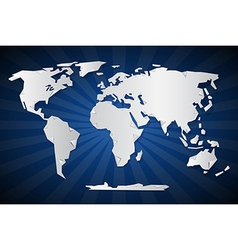 Paper World Map on Blue Retro Background vector image vector image