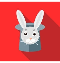 Rabbit in a top magic hat icon flat style vector