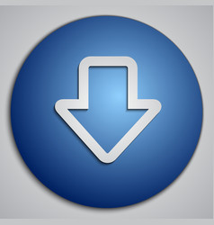 Round blue down arrow button with paper cut image vector