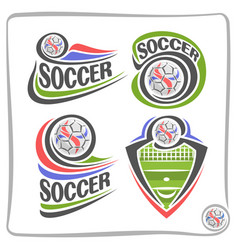 set of abstract logos for soccer vector image vector image