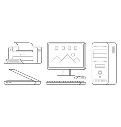 Set of computer office equipment vector