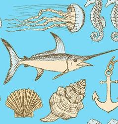 Sketch sea set in vintage style vector image vector image