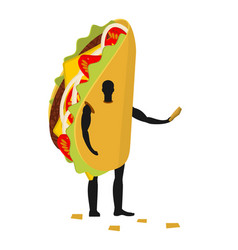 taco man mascot promoter male in costume fried vector image