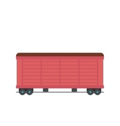 Train cargo wagon flat vector