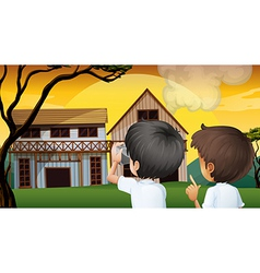 Two young boys taking photos vector image