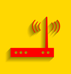 Wifi modem sign red icon with soft shadow vector