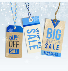 Winter sale realistic tags on winter background vector