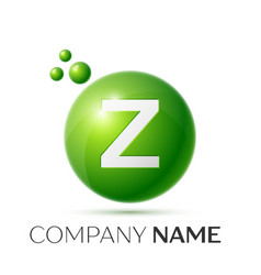 Z letter splash green dots and bubbles number vector