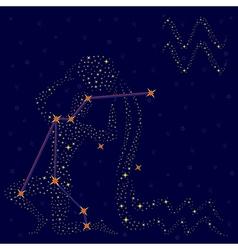 Zodiac sign Aquarius over starry sky vector image