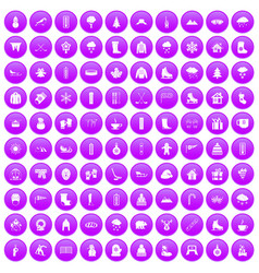 100 winter icons set purple vector