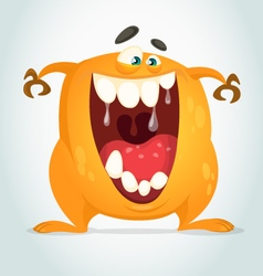 Happy cartoon orange monster vector
