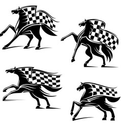 Racing sport emblems running horses with flags vector