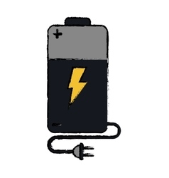 Drawing battery charge alkaline lighting cable vector