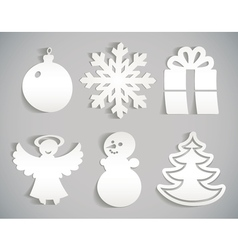 Christmas icon cut from paper isolated on gray vector