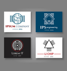 it and engineering logo company card set vector image