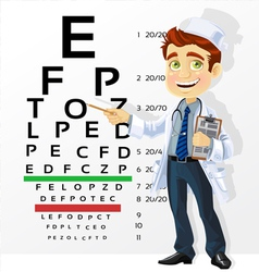 Doctor - optometrist testing visual acuity vector