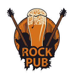 Banner with wooden keg beer glass and guitars vector
