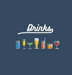 Glass of various drinks and cocktails vector