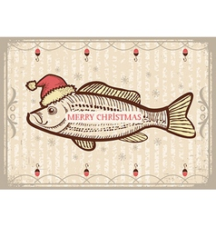 Christmas fish in Santa red hatVintage drawing vector image