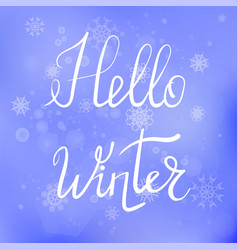 Hello winter lettering typographic poster vector
