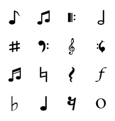 Black notes icons set vector