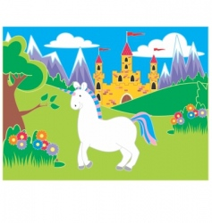 Castle and unicorn vector