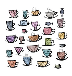 Set of ornate mugs Sketch for your design vector image