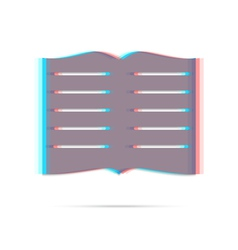 Book anagliph icon with shadow vector