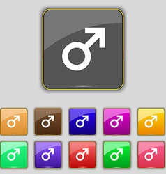 Male sex icon sign set with eleven colored buttons vector