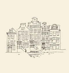 Amsterdam city architecture vintage engraved ill vector