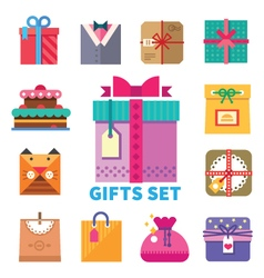Gifts set in flat style vector