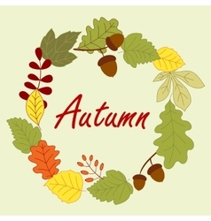 Season frame with autumn leaves vector