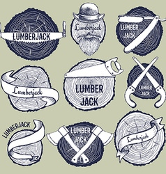 Sketch set of lumberjack logotypes vector