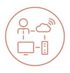 Cloud computing line icon vector