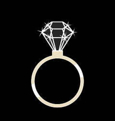 Gold ring with a diamond vector