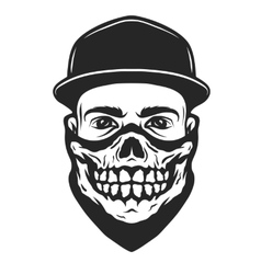 A guy in a bandana with a skull pattern vector