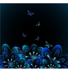 Abstract flower on black background vector image vector image