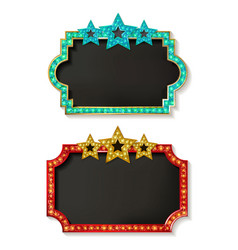 big set of retro frames with glowing lamps vector image vector image