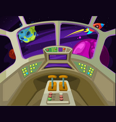 cartoon spaceship cabin interior with windows into vector image