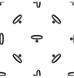 cat collar pattern seamless black vector image